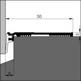 Bodenschwellendichtung ANB 7 alu-werkblank, 50 x 3 x 3000mm mit Weich-PVC Lippe