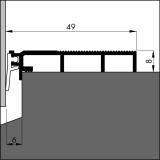 Bodenschwellendichtung ANB 7N alu-werkblank, 49 x 8 x 3000mm mit Weich-PVC Lippe