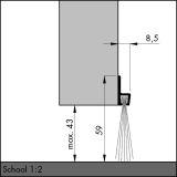 IBS 60, alu-werkblank, 250 cm, VE: 1