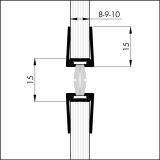 Glastürprofil Aluminium mit Bürste GDP 12mm silber-elox 12 x 2250mm