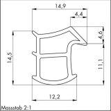 W-PVC Dichtungsprofil Stahlzargen K2154 weiß 5m