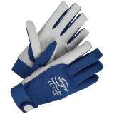 KORSAR Leder- Mechanikerhandschuh Super-Touch mit Nylon-Rücken, Klettverschluss Farbe:grau-blau